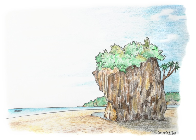 Sketch of a stone pillar on the beach in Borneo