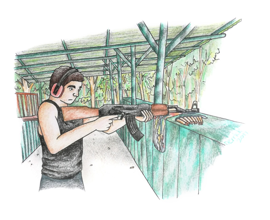 Sketch of a man at a saigon firing range