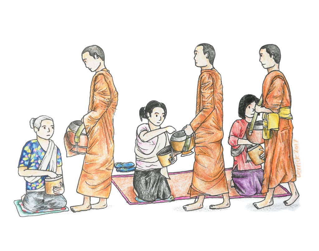 Drawing of buddhist monks accepting donations from locals