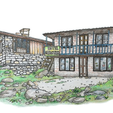 Drawing of a Nepal hiker's rest house