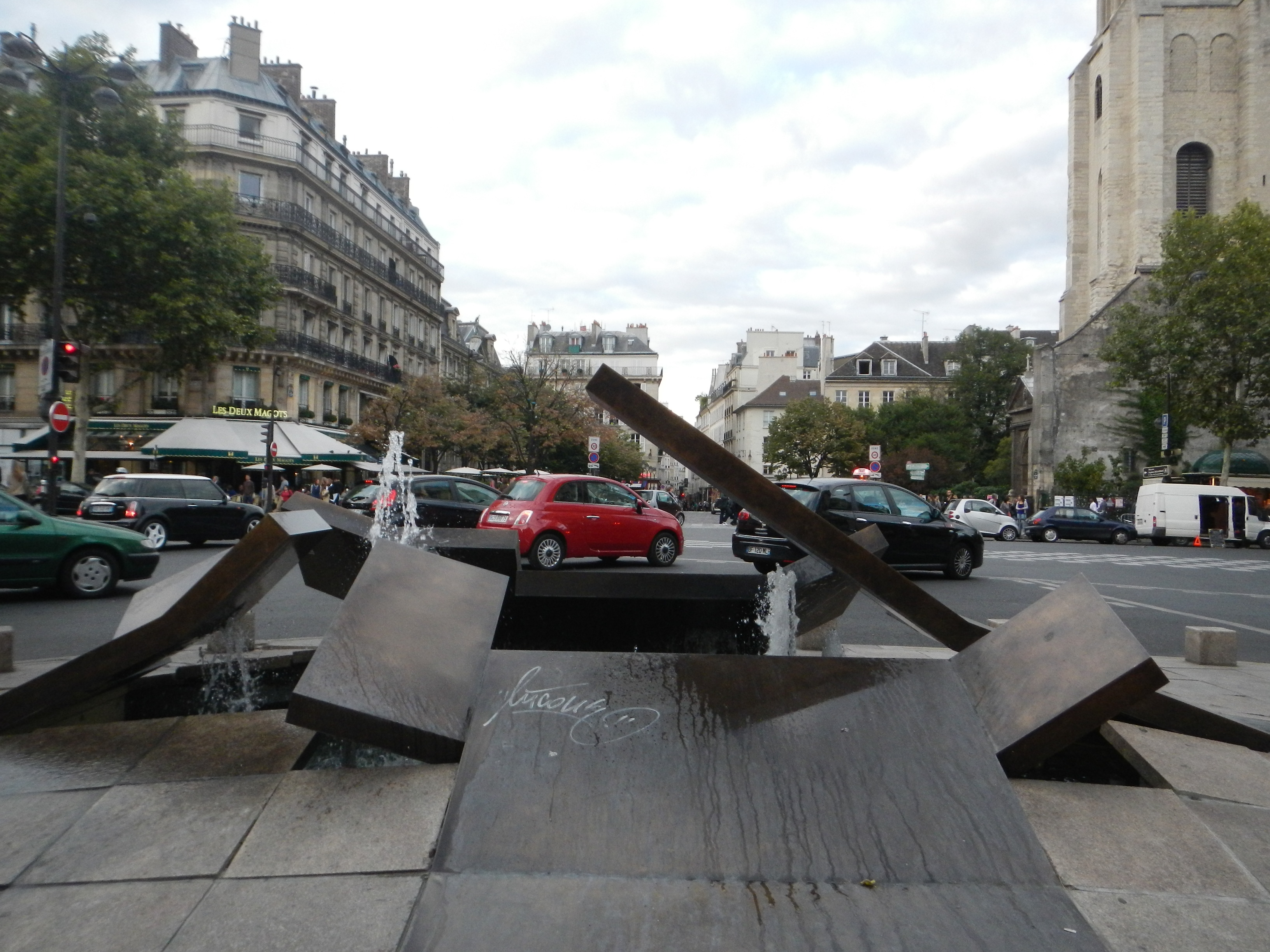 an interesting fountain in saint germain