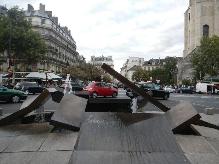 an interesting fountain in saint germain