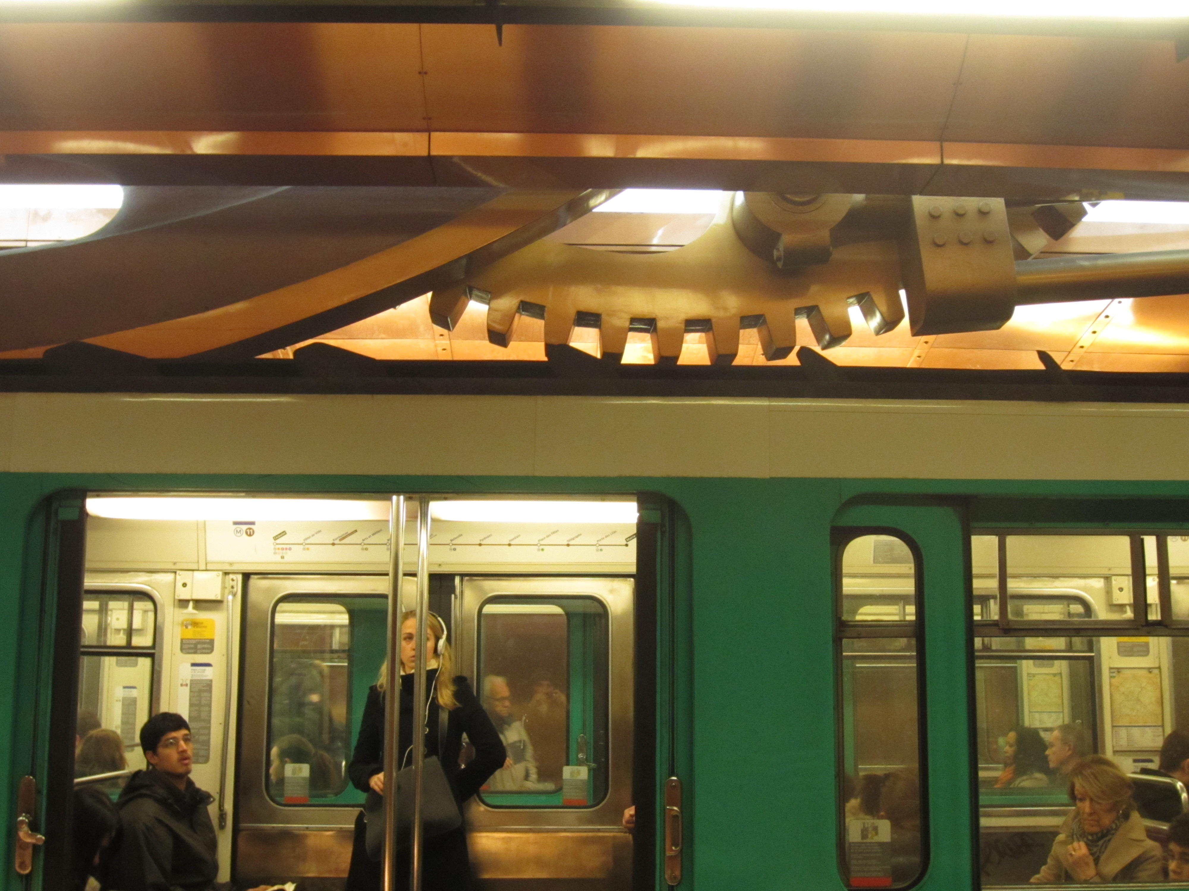 arts et metiers metro station with gears and cogs artwork