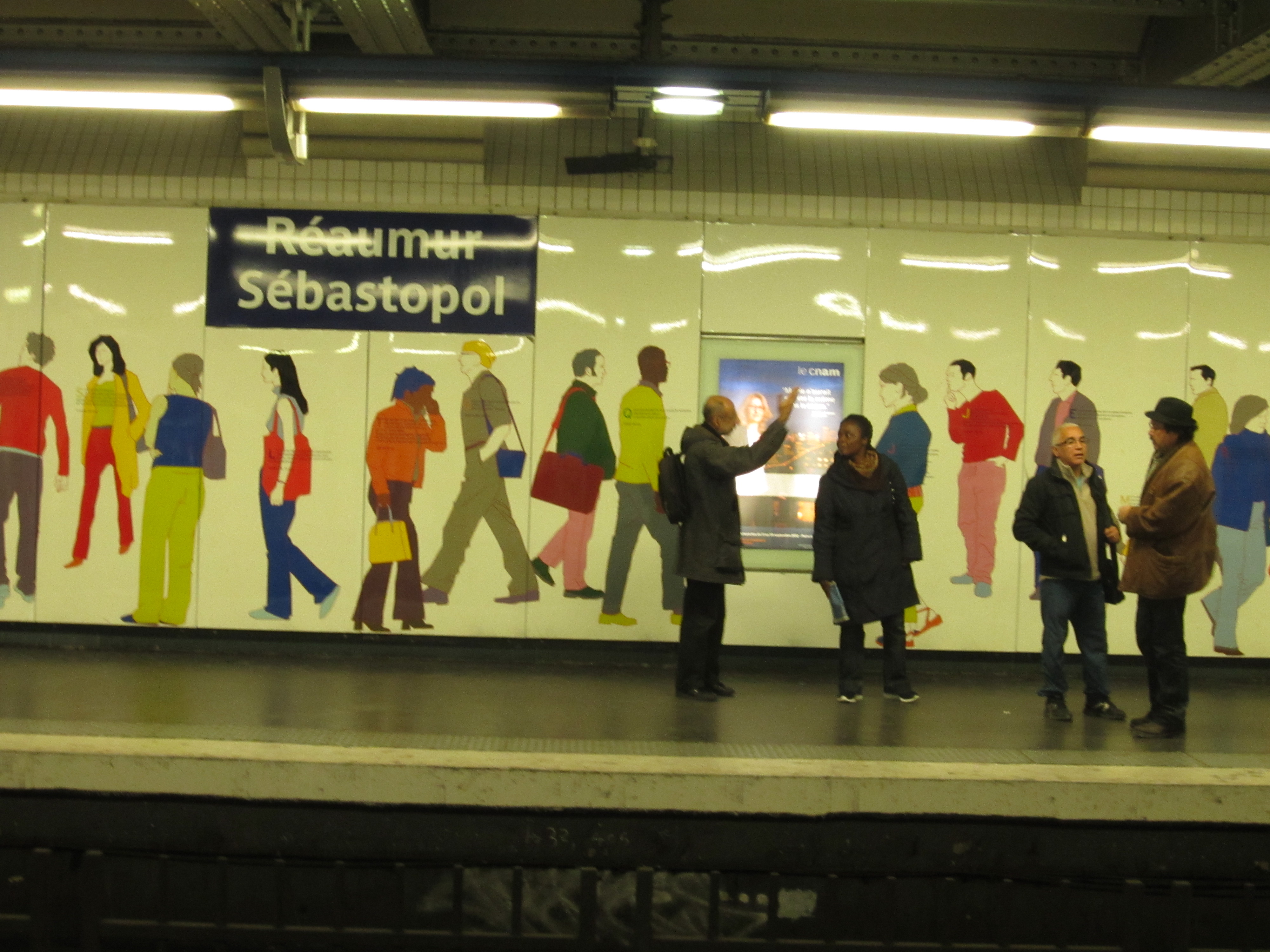 reaumur sebastopol station in paris with public artwork