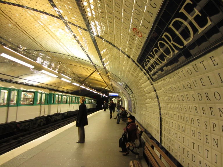 scrabble tile walls of concorde metro station