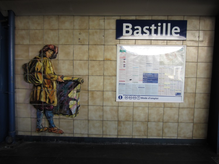 painting of a man at bastille train station