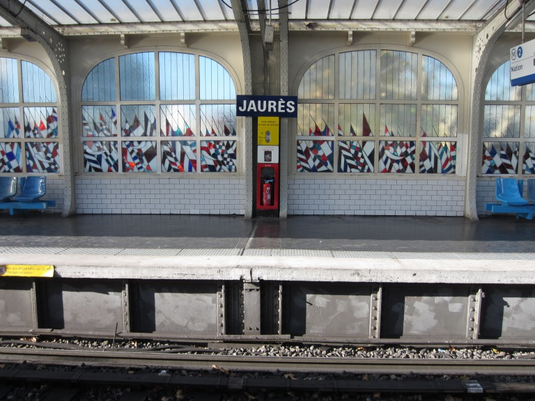 jaures metro station coloured glass windows