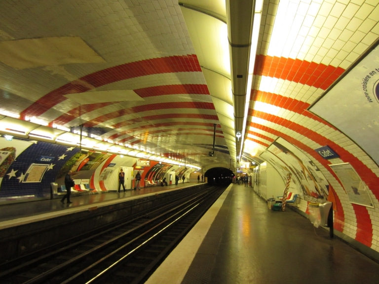 stars and stripes in a paris metro station