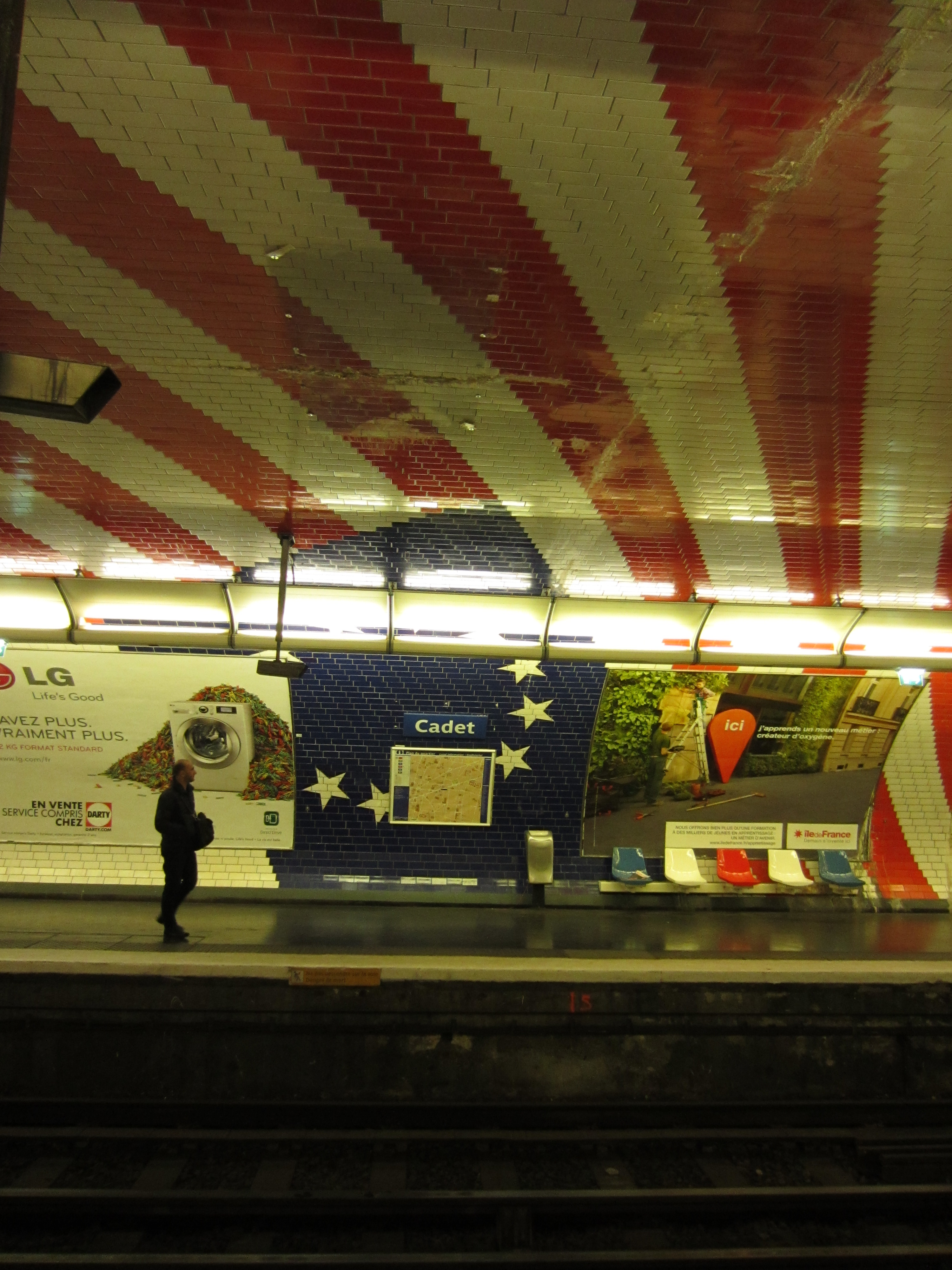 a patris station with red and white decorations