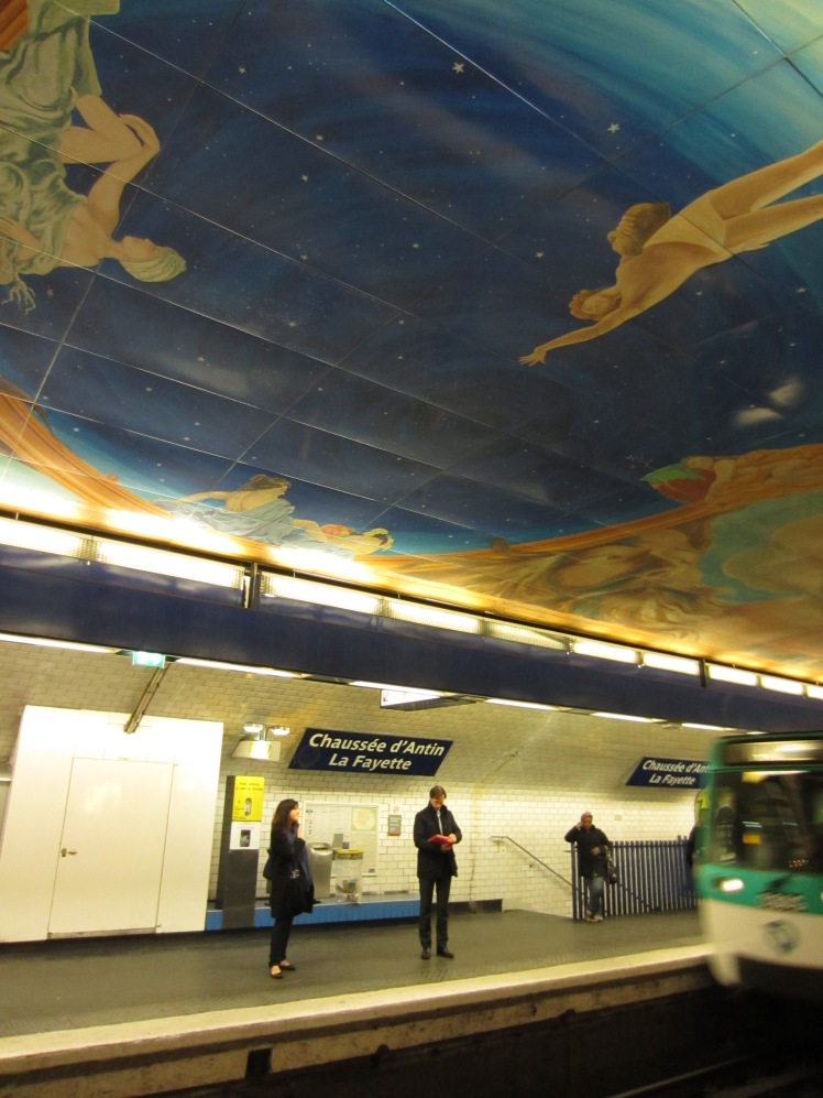 lafayette metro station art display on the ceiling