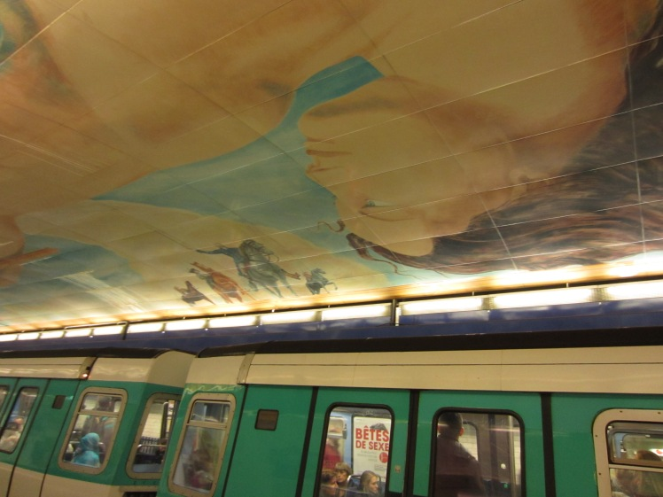 lafayette metro station artwork painted on the ceiling