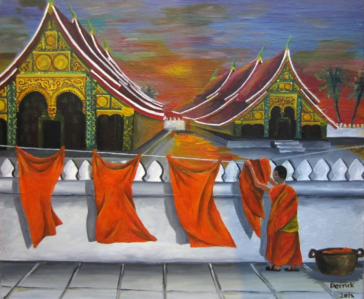 "Laotian laundry. Inspired by my time in Luang Prabang, and many other Buddhist temples across Asia. Acrylic on canvas, 16"" x 20"""