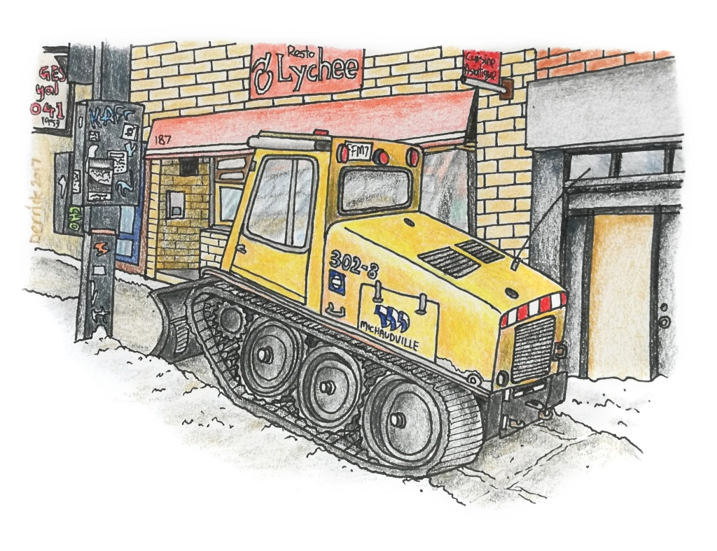 Sketch of a mini snow plow removing snow from a canadian sidewalk