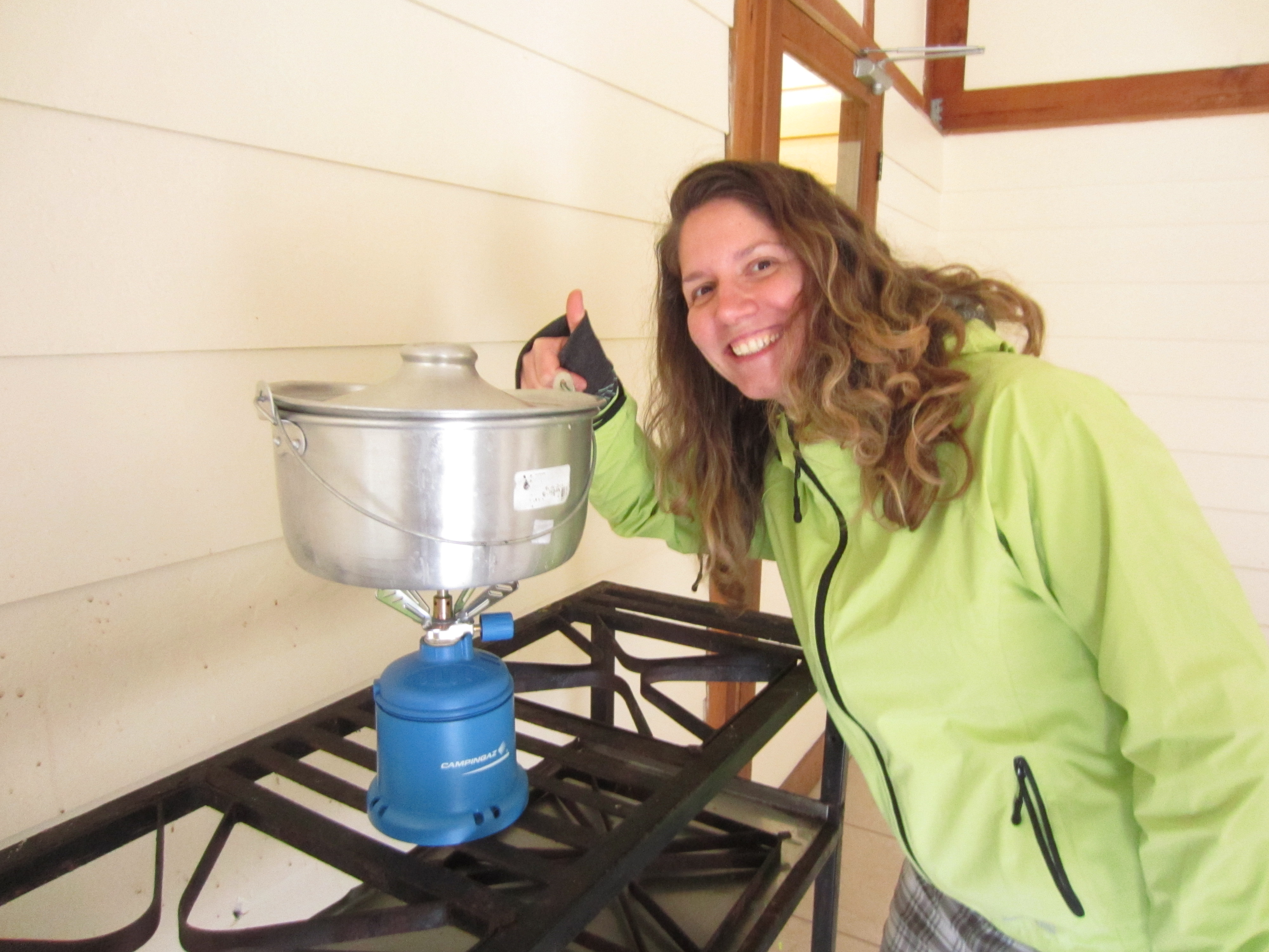 Dinner at Crestones base lodge; pasta and portable stove