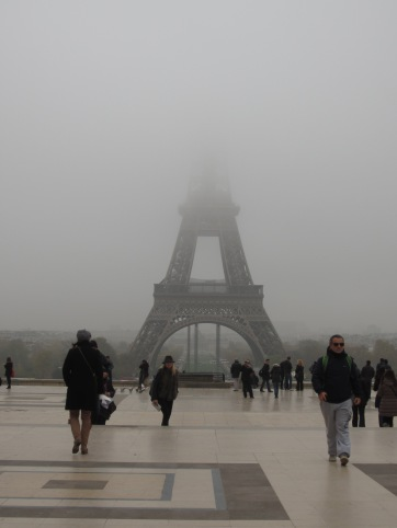 A ghostly Eiffel Tower