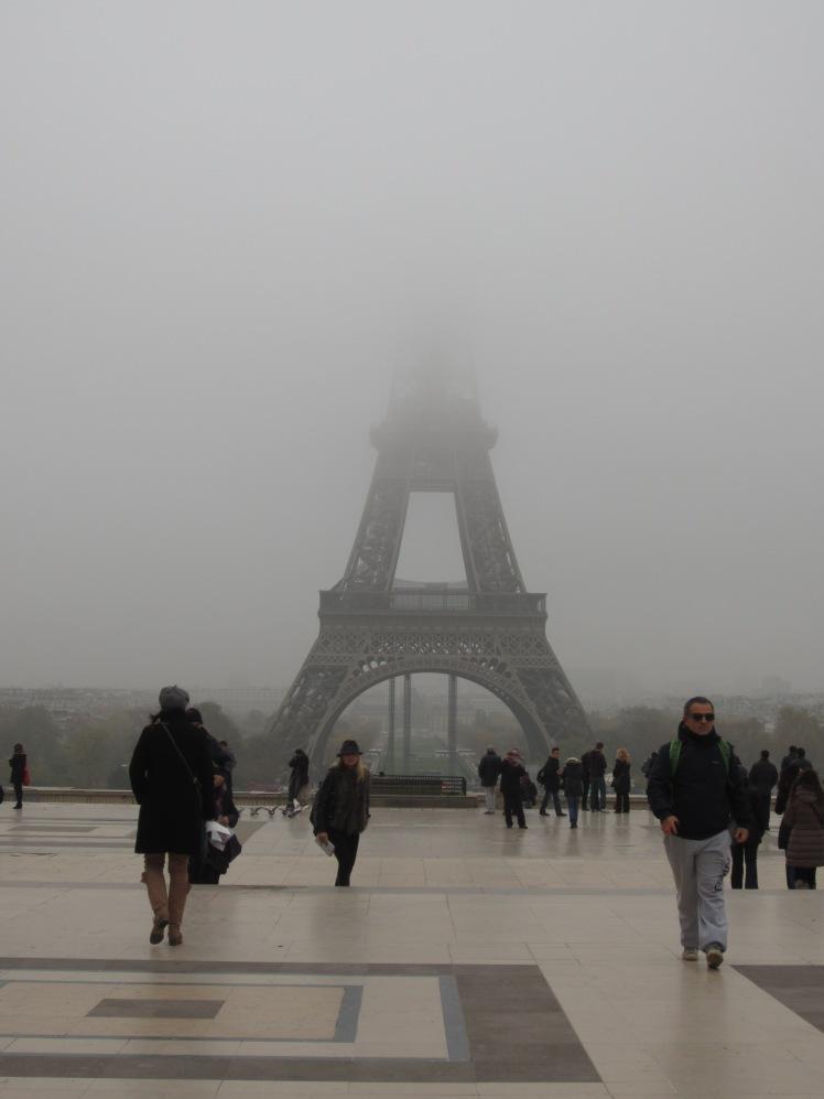 A ghostly Eiffel Tower