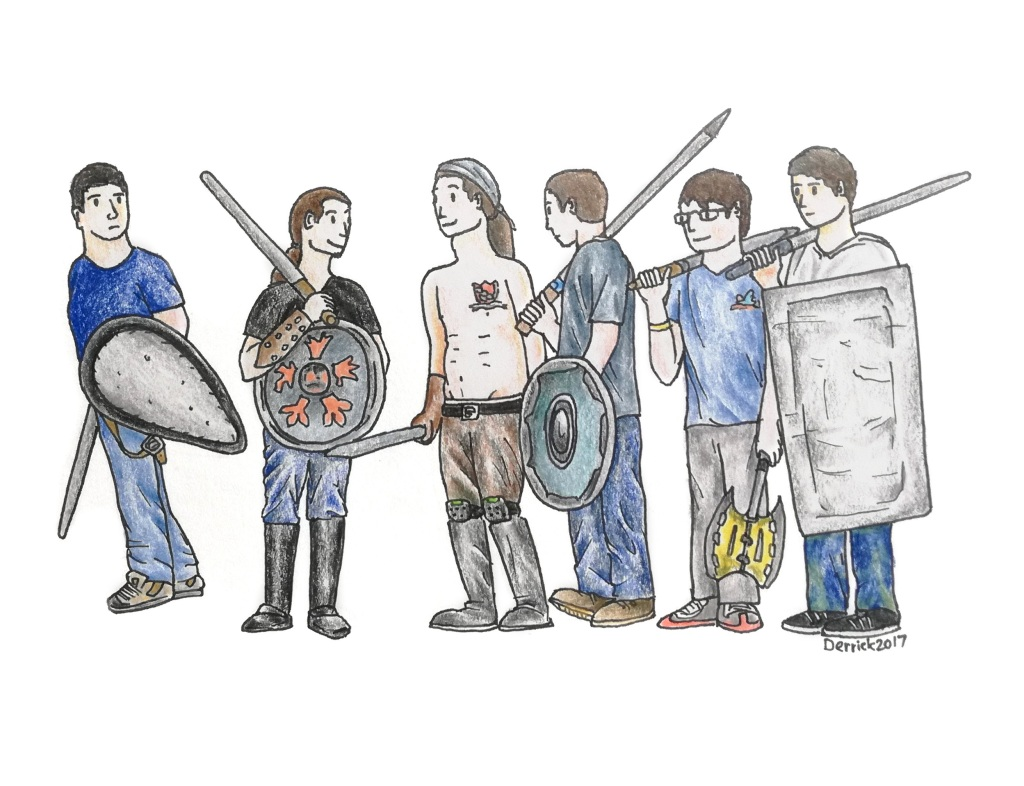 Sketch of a group of guys playing with swords and shields