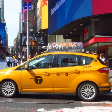a yellow cab in times square