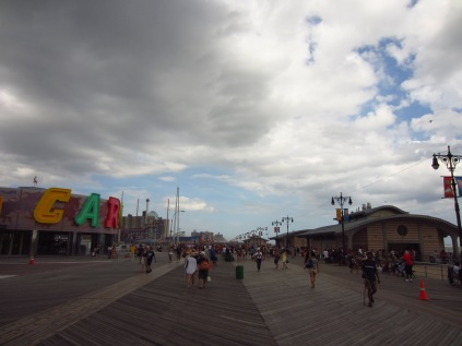 Clouds rolling in over the boardwalk
