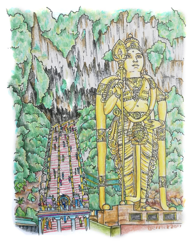 Sketch of the giant buddha in front of Batu caves in malaysia