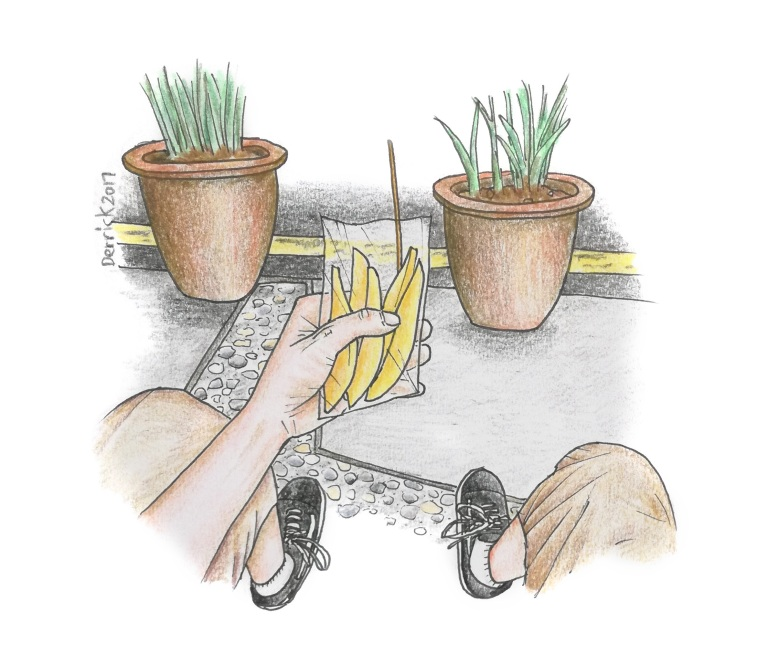 Drawing of a hand holding a sliced mango snack in KL