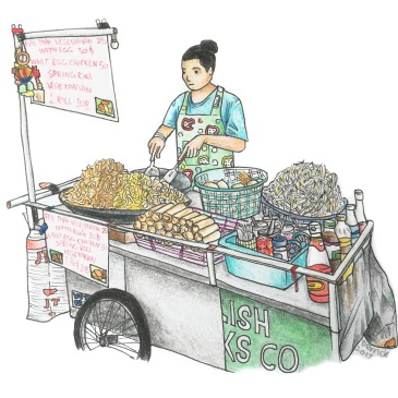 Drawing of a street food cart in Thailand