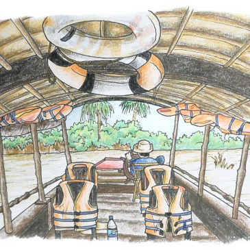 Sketch of a vietnamese boat on the mekong delta