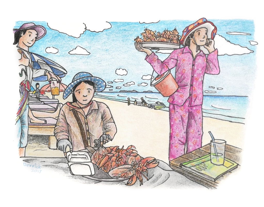 Drawing on cambodian women selling food on sihanoukville beach