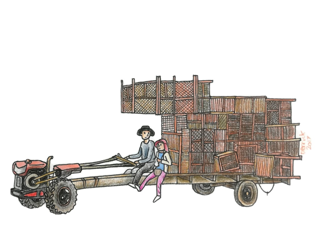 Sketch of a Cambodian tractor with a large cargo of wooden pallets