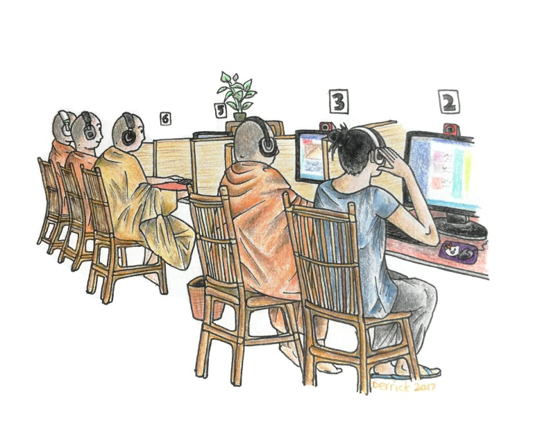 Drawing of a group of monks using the internet in Phnom Penh