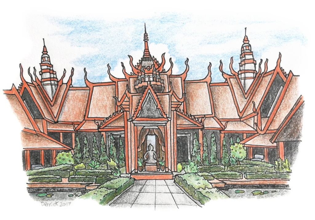 Sketch of phnom penh museum with red paint