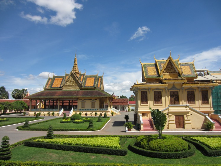 Phnom Penh Royal Palace and beautiful garden arrangement