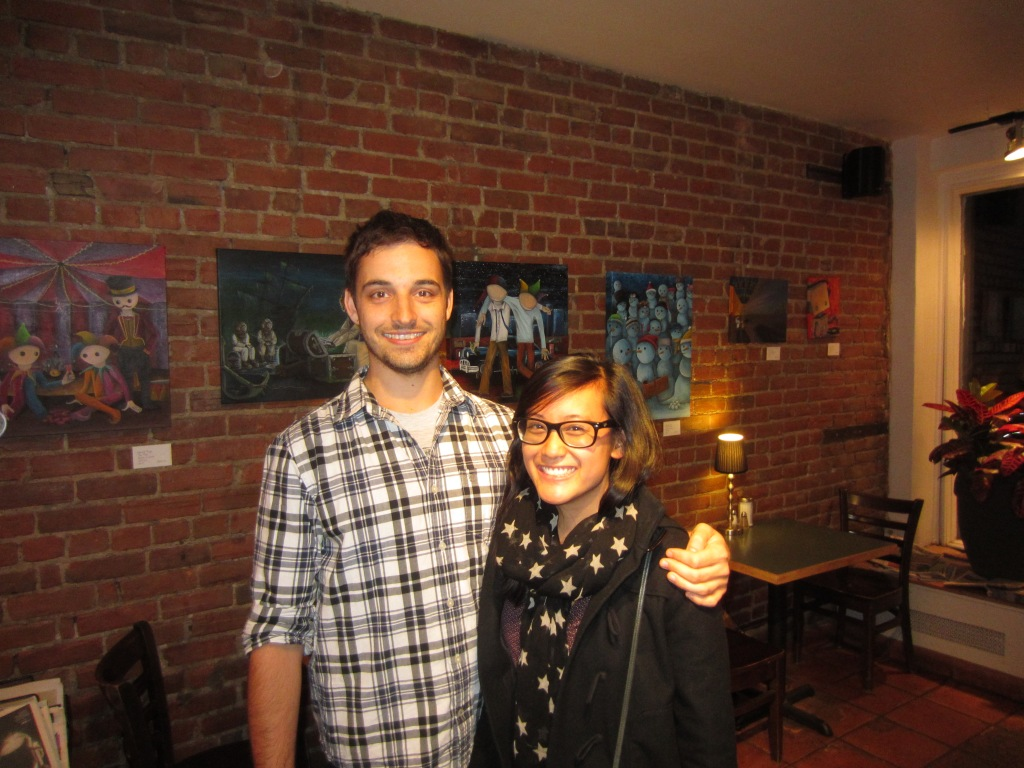 Derrick and Cindy pose for a picture at the opening of his painting vernissage