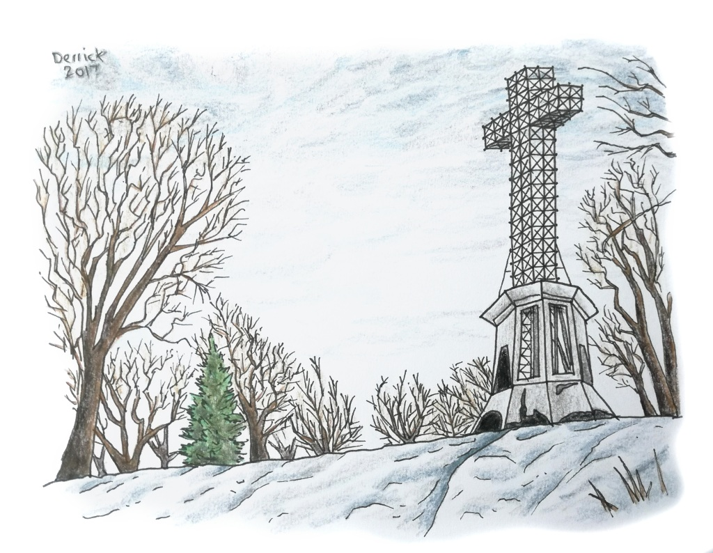Drawing of mont royal in the winter