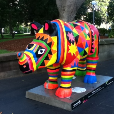 A sydney rhinoceros sculpture painted in bright colours