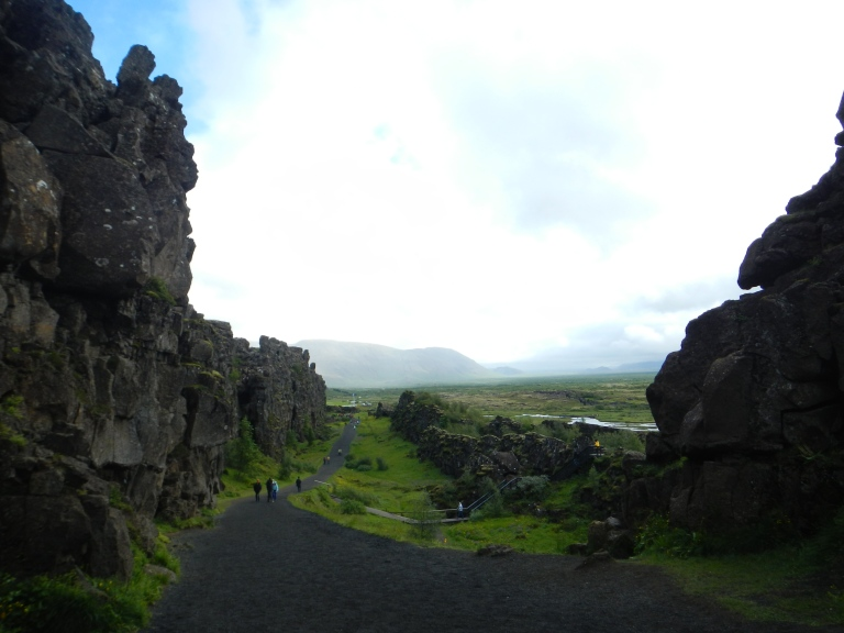 a shallow valley in iceland between tectonic plates