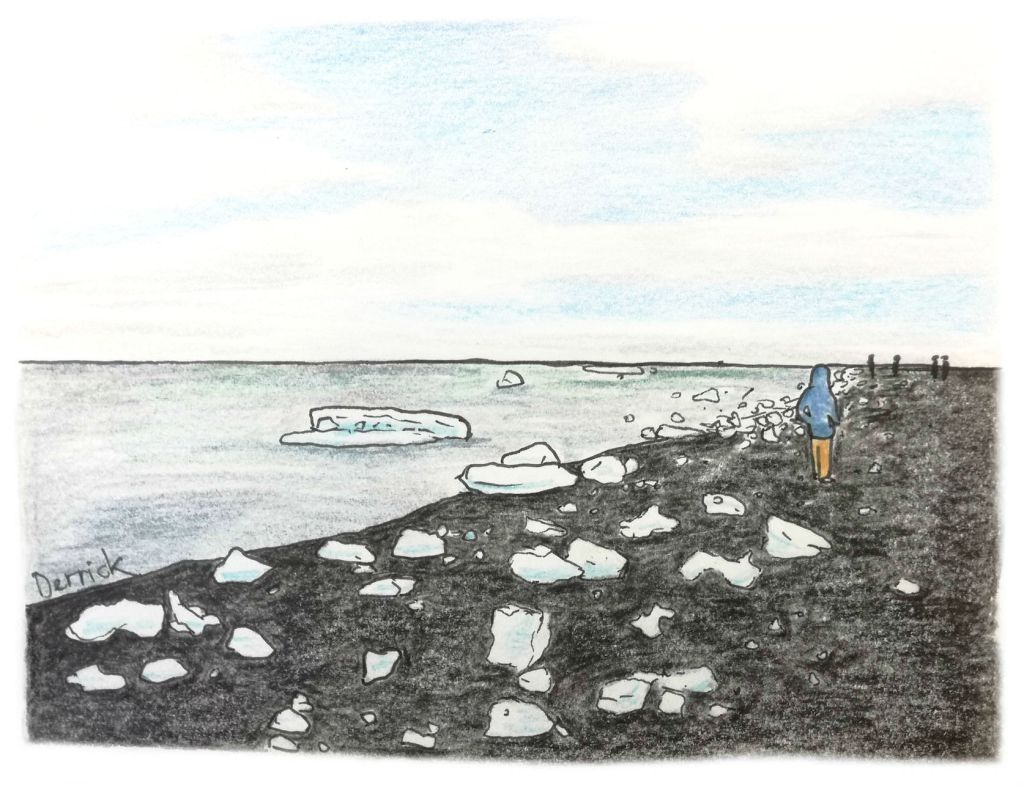 Sketch of ice blocks washing up on a black sand beach in Iceland