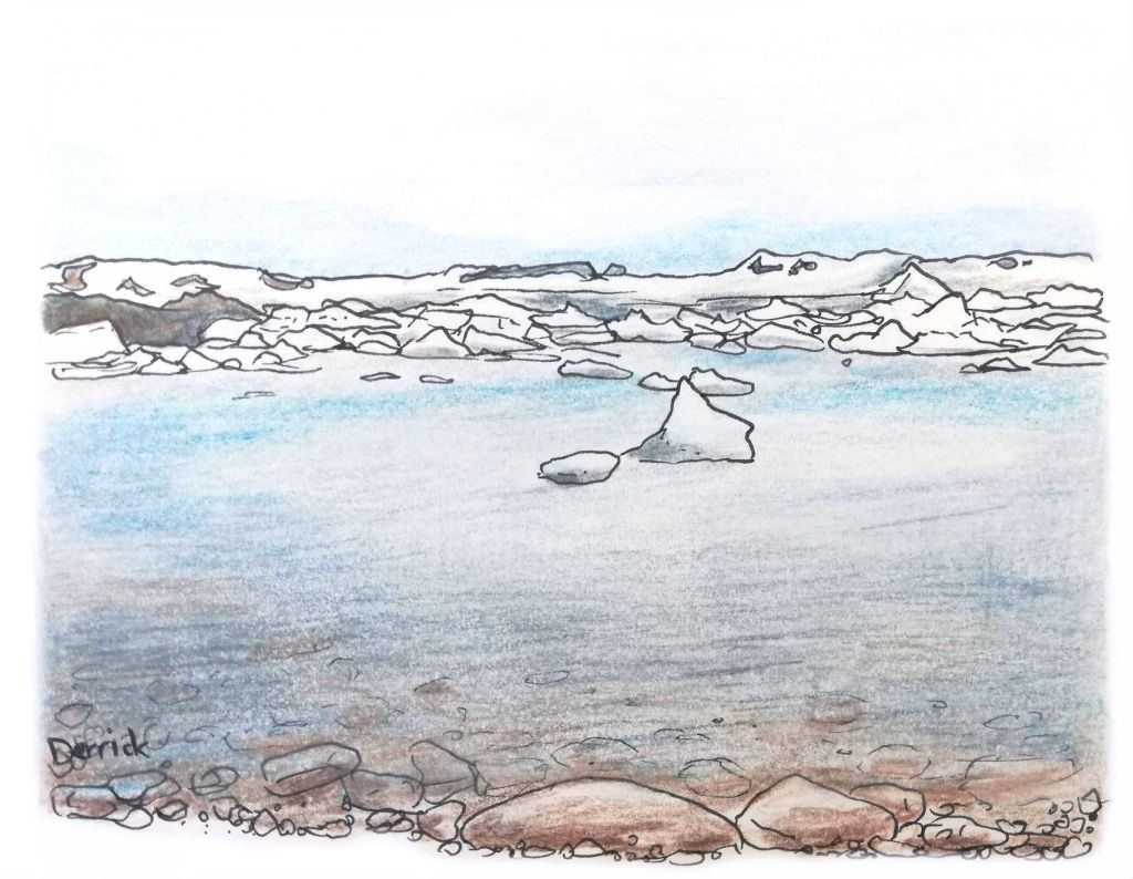Sketch of ice blocks floating in Jokulsarlon glacier lake