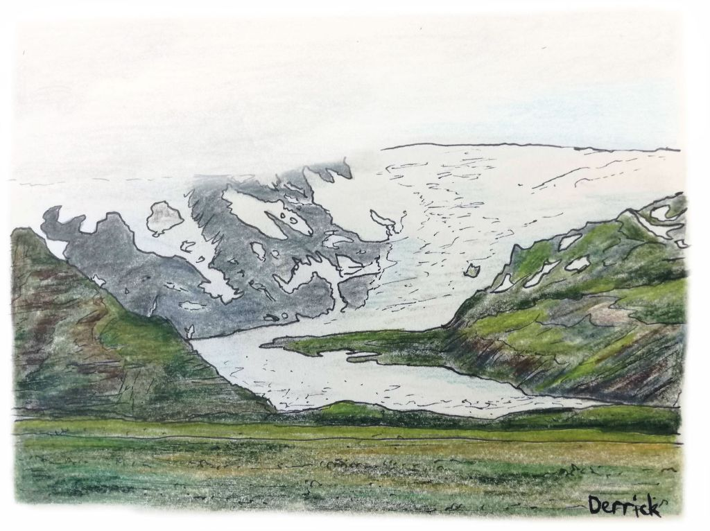 Sketch of Vatnajokull glacier on the mountain side