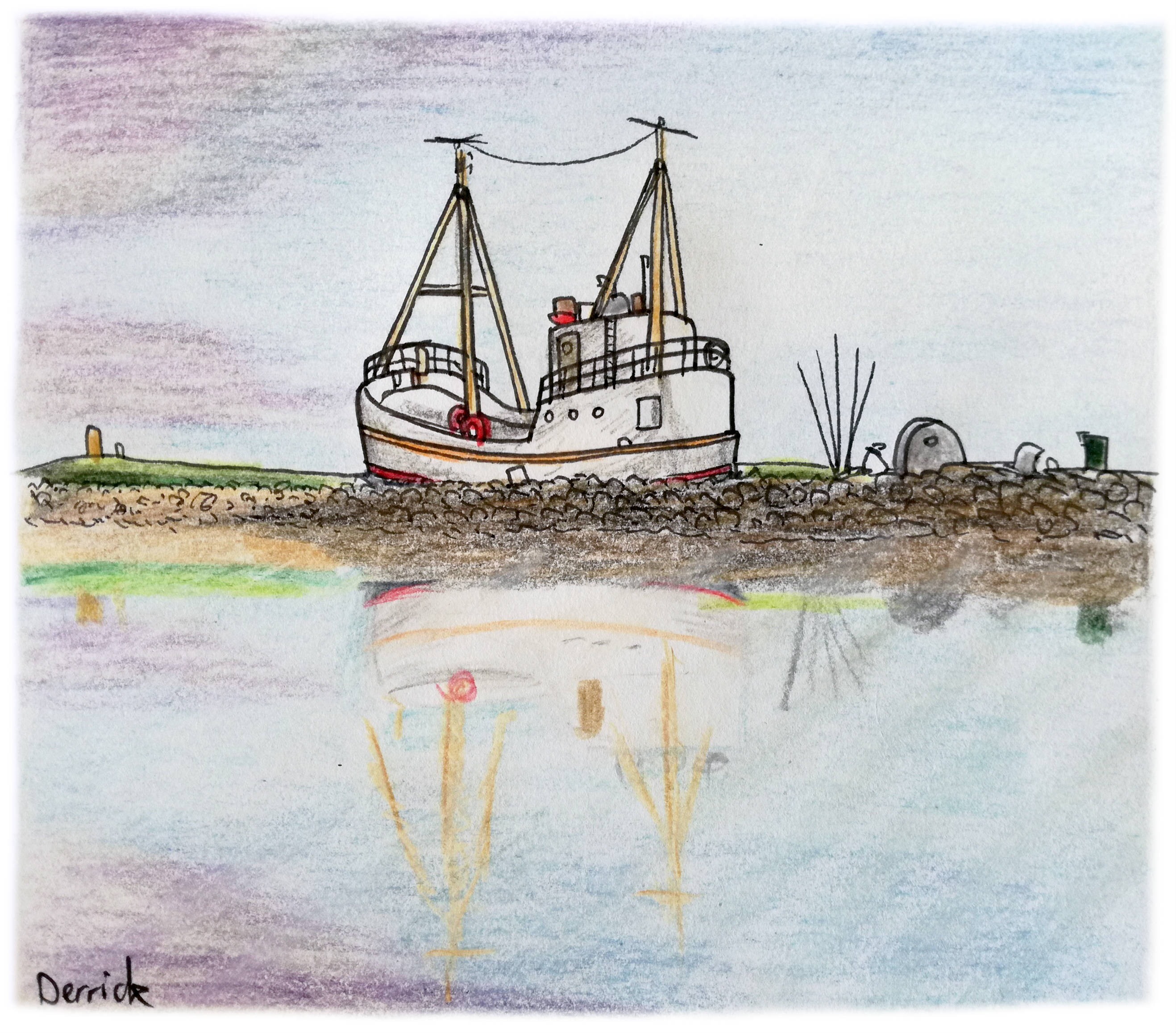 Sketch of a Höfn fishing boat with a purple sunset