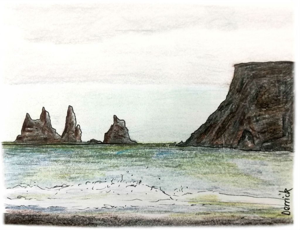 Sketch of jagged rocks in the sea at Vik, Iceland