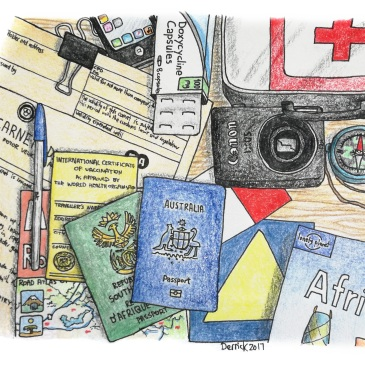 A drawing of travel documentation and equipment on a table