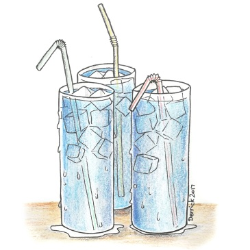 A drawing of go-go juice cocktails with ice