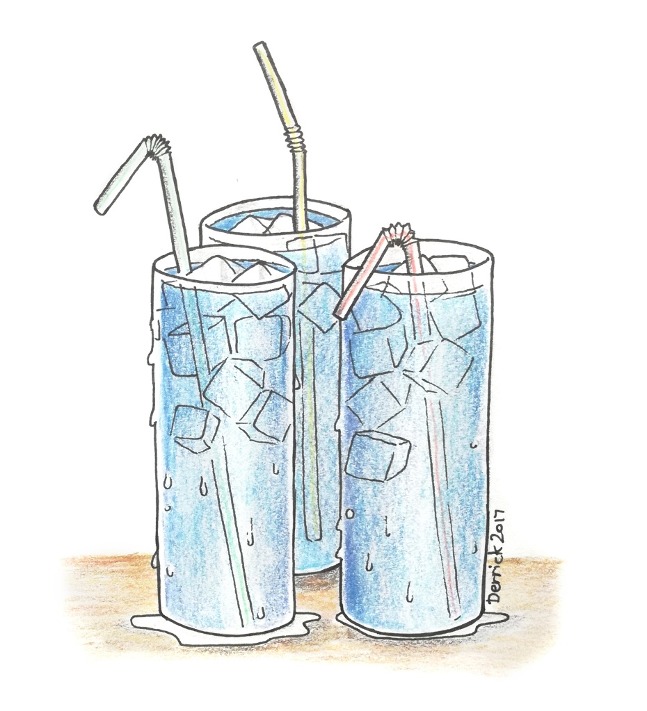 A drawing of blue cocktails with lots of ice