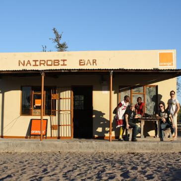 A small orange building in Botswana