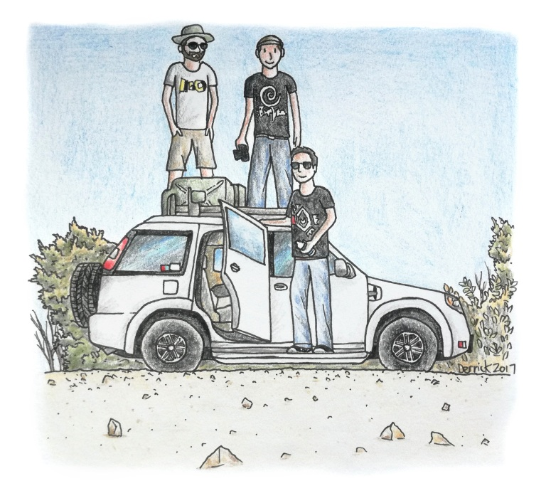 Sketch of three people with their car on an african road trip