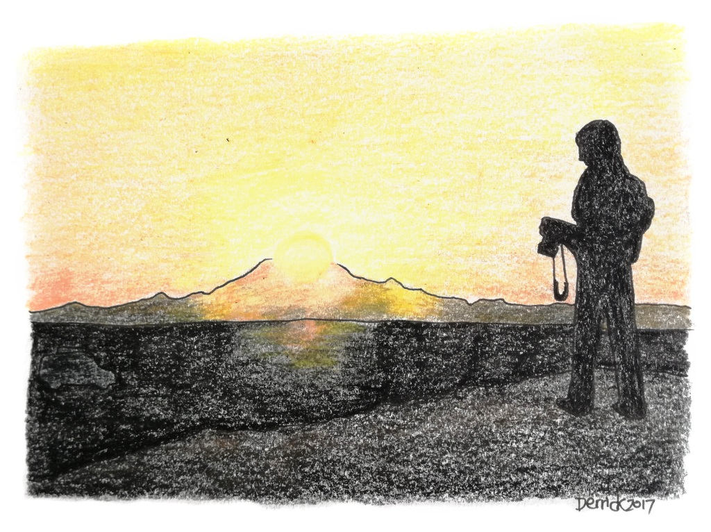 Sketch of a man silhouetted against an african sunset
