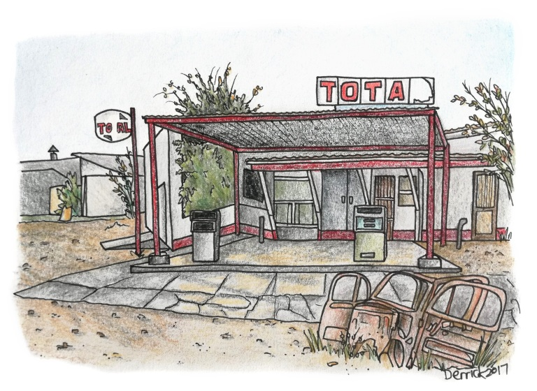 Drawing of a broken down gas station in africa