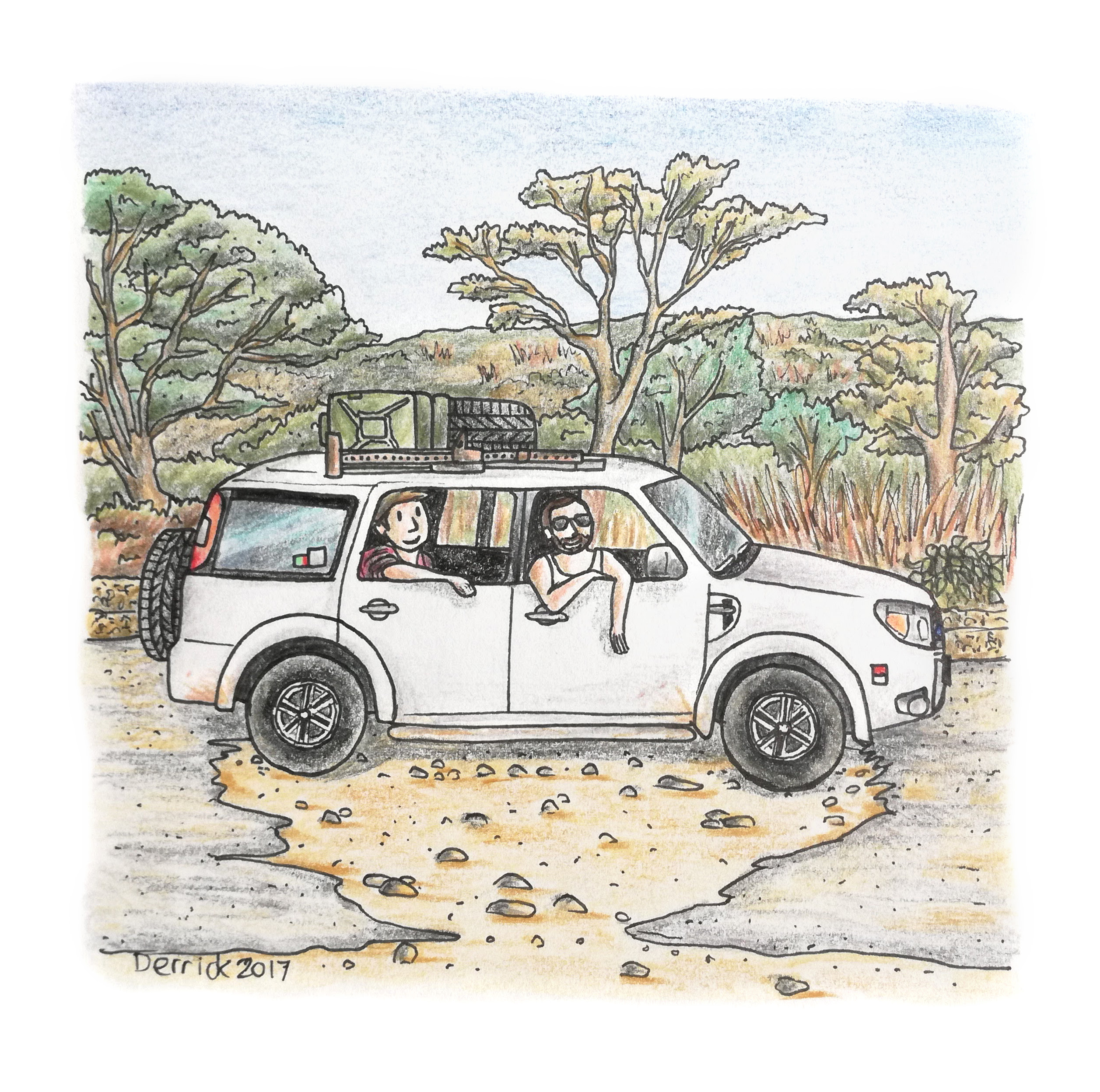 Sketch of a car stuck in a massive pothole in zambia