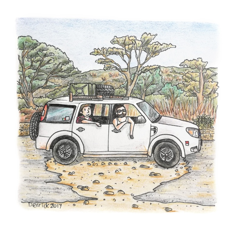Sketch of a car stuck in a massive pothole in zambia
